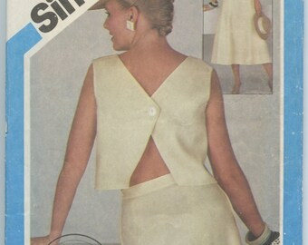 1980's Simplicity 6443 Misses Two Piece Dress V Neck Button Back Top and Six Gored Flared Skirt Sewing Pattern Bust 32-36 Waist 25-28 UNCUT