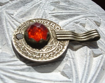 Moroccan orange jewel tarnished 10 franc coin pendant with plain loop/bail