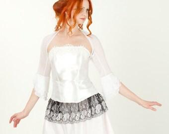 White lace bolero, Antoinette bolero, rococo shrug flare sleeve bolero, white lace bolero, bridal bolero, bridesmaids bolero, wedding bolero