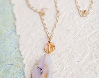 Agate Necklace, Gold, One of a Kind, Gift for Mom, Long Necklace, Stone Pendant, Beach Babe