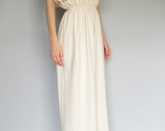 gypsy jewel - organic cotton soft natural caramel beige strapless bohemian chic hippie bridesmaid maxi dress small