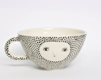 Bowl cup - Porcelain hand painted cup