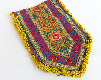 Vintage Wallet or Coin Purse from Afghanistan - Pashtun, Tribal, Handmade, Embroidered Stitched Beaded, Kuchi Boho Bohemian Style, Exotic