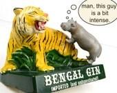 advertising, tiger, chalkware, bengal gin, vintage Barware, mid century, bar bottle display
