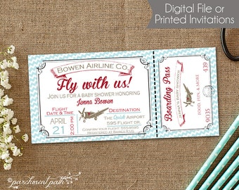 Airplane Baby Shower Invitation   Vintage Airplane Invitation   Fly With Us  Invitation   Printable Boy