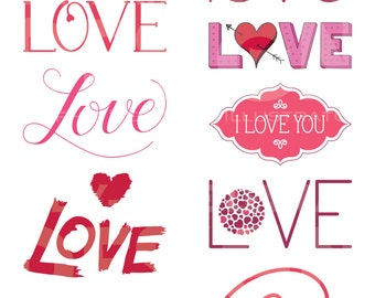 Love Typography Heart Clipart—Word Overlays Love Clip Art Set—Text—Lettering—Commercial Use—Digital Download Art—Vector Graphics