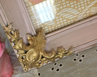 Baroque Vintage Shabby Chic  Picture Frame - Ornate Metal - Antiqued & Gilded in Dusty Pink