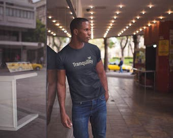 Tranquility mens t shirt /Tranquility t-shirt/ Butterfly T-Shirt / Tranquility word tee / Men's t-shirt / Life is Balance / yoga tee