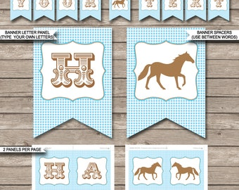 Blue Horse Party Banner - Pony Party - Happy Birthday Banner - Custom Banner - Horse Party Decorations - INSTANT DOWNLOAD with EDITABLE text