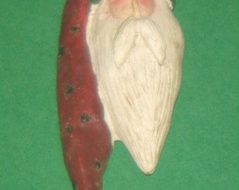 Vintage Santa pin, unusual Santa pin, vintage holiday pin, Santa pin, handmade pin, vintage handcrafted pin, Christmas pin, holiday pin.