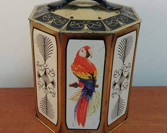 Vintage Peek Frean's Biscuit Tin / Made in England / Tea Biscuit Cookie Metal Tin / Tropical Bird Motif