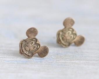 Mickey Mouse Earrings - Dark Sterling Silver studs