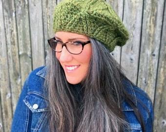 Crochet Pattern-- Bixby Women's Cabled Beret --Crochet Pattern