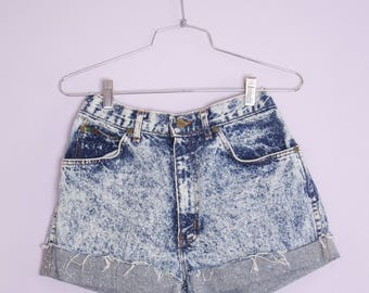 Vintage 1980's Acid Wash Jean Shorts Cut Offs 32 Waist