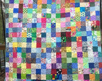 Twin Patchwork Quilts - Twin Size Handmade Quilts - Mother's Day Gift - Spring Colors Quilts - Couch Quilts -Picnic Quilts