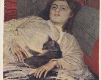"I. Kramskoy ""Girl with a Cat"" Postcard -- 1956"