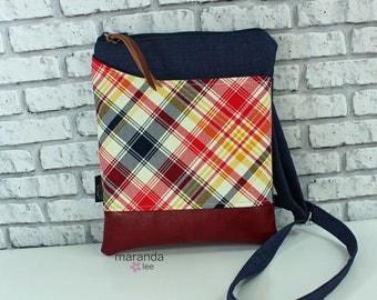 ZOE Messenger Cross Body Sling Bag Tartan Plaid  - Outside Pocket and PU Leather READY to SHIp