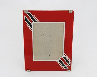 "Vintage Art Deco Reverse Painted Glass Photo Picture Frame - 6"" by 4 1/2"" - 1930's - 1940's - Easel Back - Red and Black"