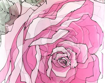 Hand Painted Silk Shawl, Yellow and Pink Roses Scarf, Pink Silk Scarf, Chiffon Wrap Shawl, Takuyo, ETSY, 22x90 inch, Made to order
