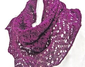 Dragon's Breath Cowl, OOAK, burgundy, red, merlot Petrichor - the scent of rain, Resilient superwash Merino sock yarn