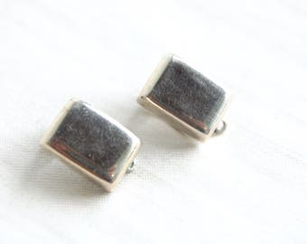 Rectangle Clip On Earrings Mexican Sterling Silver Modernist Clips Geometric Modern Rectangles