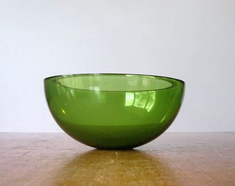 Vintage Green Glass Bowl Attr: Kaj Franck iittala Nuutajarvi or Orrefors