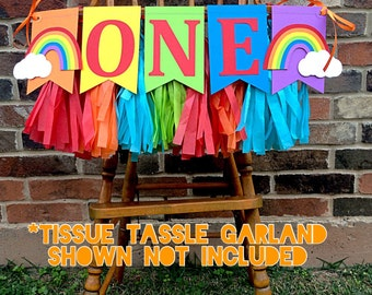 ONE High Chair Garland: ONE High Chair Banner, Rainbow High Chair Banner, 1st Birthday Boy, 1st Birthday Girl, Noah's Ark Party