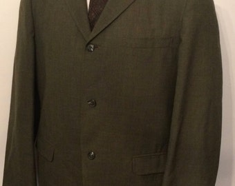 On Sale Vintage MENS Executeen for Isaac Baker and Son olive green 3 button tweed jacket, sport coat or blazer