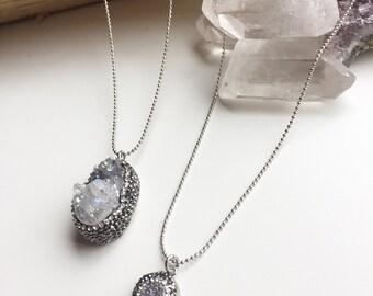 Silver Crystal Quartz Pave sparkling necklaces
