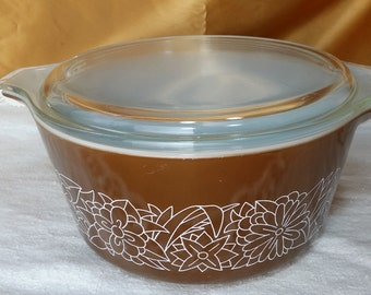 Vintage Pyrex Woodland Casserole Dish Bowl with Lid 474-B 1.5 Woodsy Brown Flowers cinderella *eb