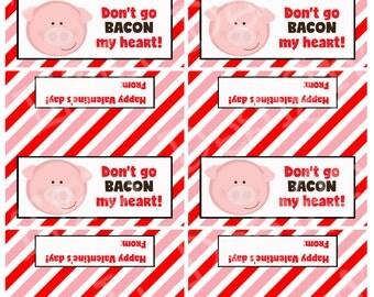 Valentine Pig Treat Bag Toppers, Valentine's Day, Printable, Instant Download, Digital