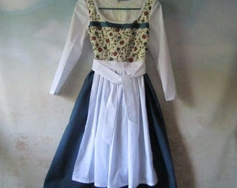 Girl's Belle Dress/Dirndl & Apron: Beauty And The Beast, Hobbit, Peasant, Heidi, Gretel, Liesl - All Cotton, Sizes 5 - 14, Ready To Ship