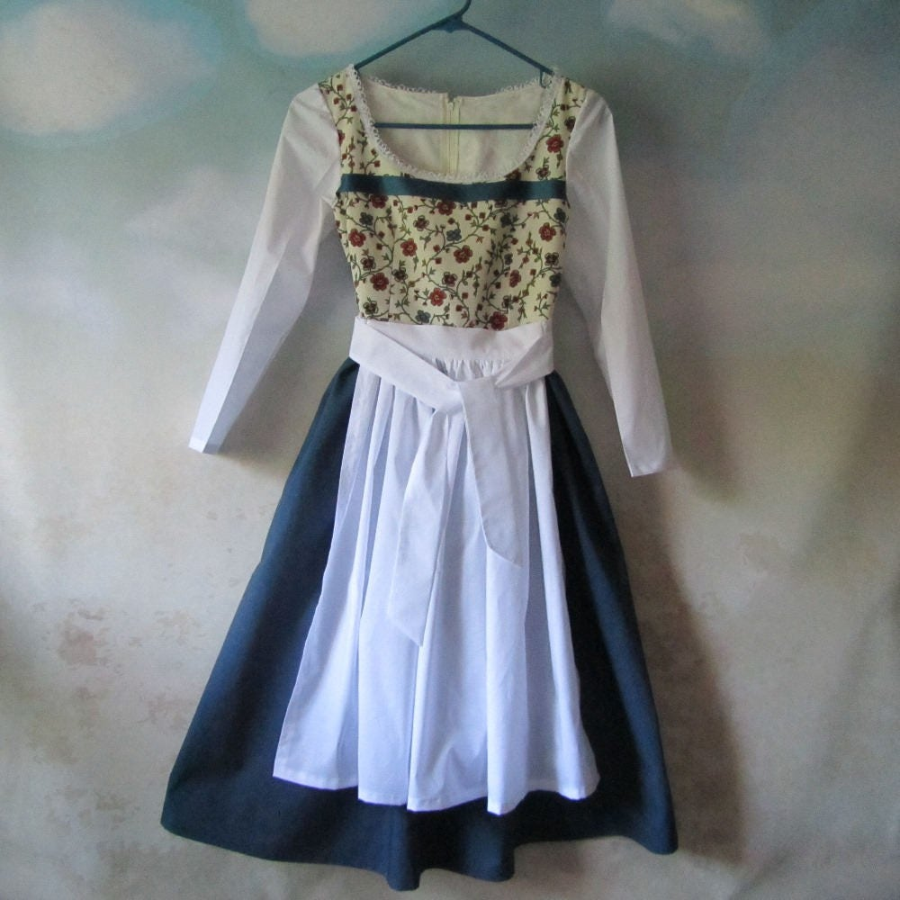 White apron belle - Girl S Belle Dress Dirndl Apron Beauty And The Beast Hobbit Peasant Heidi Gretel Liesl All Cotton Sizes 5 14 Ready To Ship