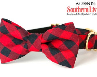 Crew LaLa™ Buffalo Plaid Bow Tie Dog Collar