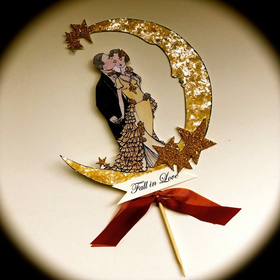 Art Deco Moon Cake Topper : Moon Wedding Cake Topper Art Deco Bride and Groom 14 Karat