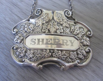 Vintage Sterling Silver Engraved Sherry Decanter Tag/Label