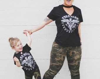 Mommy +  Me Matching Sets, Rocker Tee, Mama Bird Tee, Cut out Neckline, Twinning Set, Mommy and Me Tees, Matching Tees, Free Bird Tee