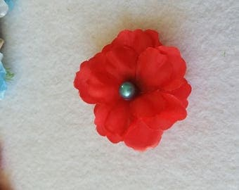 10 Red Flower Hair clip party favors, inspired by Princess Elena of Avalor