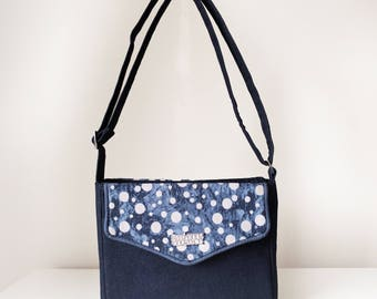 Cross Body Bag / Small Shoulder Bag for Women with Flap Pockets and Zip Closure in Navy Blue Denim