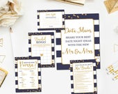 Navy and Gold Bridal Shower Games Package, Printable Gold Navy Bridal Shower Games Instant Download BR13