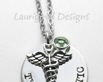 Medical Alert necklace - Hand stamped medical necklace - Choice of crystal color and wording - See all photos!