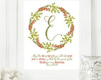 "Christmas ""E"" Monogram Digital Print for Your Home 