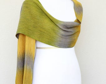 Woven wrap, pashmina wrap, gift for her, gift for him in yellow, mustard, grey and moss green, wool scarf, unisex scarf