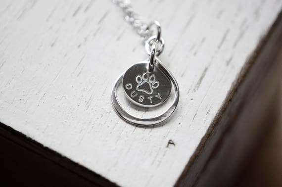 Tiny Paw Print Necklace | Silver Paw Print Necklace | Paw Print | Stamped Paw | Pet Name Necklace | Infinity Necklace | Memorial Necklace