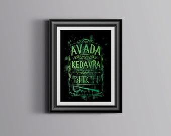 Harry Potter Death Eater Avada Kedavra Art Print Printable digital instant download dementors dark mark voldemort