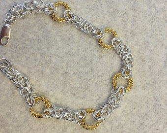 Silver and Gold Chainmaille Bracelet Byzantine