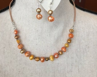 Yellow and Orange Freshwater pearl and Black Leather  Necklace with matching earrings, BoHo