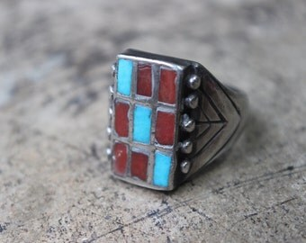 Inlay Cluster Men's RING / Coral and Turquoise Square Cut Ring / Vintage Southwest Jewelry / Size 10