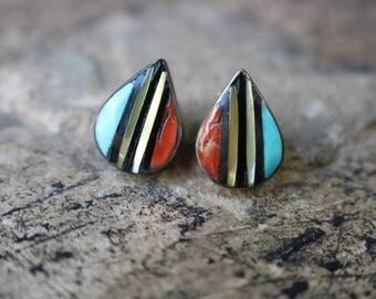 Inlay EARRINGS / Zuni Tear Drop Earrings / Vintage Sterling Silver Southwest Jewelry