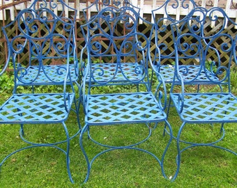 iron chairs,set of six wrought iron arm chairs,mediterranean blue iron chairs,chippy blue patio chairs,iron deck chairs,iron arm chairs